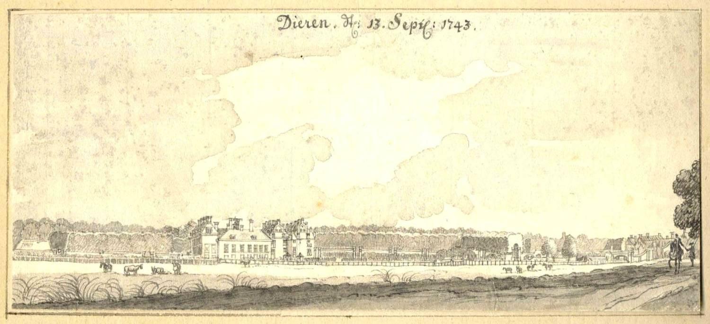 Hof te Dieren in Dieren. Tekening Jan de Beijer, 1743